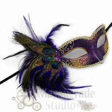 Women's Peacock Feathered Venetian Mardi Gras Masquerade Mask [Purple/Gold]