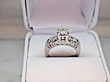 Antique Style Solid 18K White Gold Natural Diamonds Engagement Ring