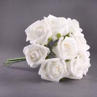 20pcs Latex Touch Flowers Bouquets Rose Wedding Bouquet White HY