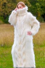 Ivory hand knitted long mohair dress SUPERTANYA fuzzy thick sweater gown ON SALE