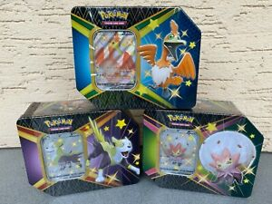 3x Pokemon Glänzendes Schicksal Shining Fates Tin Boxen NEU SEALED ARTSET EN