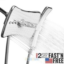 High Pressure 4 Setting Dual Shower Head Rainfall Jet & Handheld Wand Combo Set
