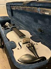 CECILIO Acoustic Electric Violin Pearl White with Ebony Accents 4/4-CVNAE White