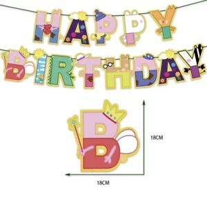Peppa Pig  Happy Birthday Banner Bunting Flag Hanging Party Decoration