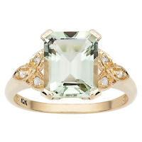 10k Yellow Gold Vintage Style Emerald-Cut Green Amethyst and Diamond Ring