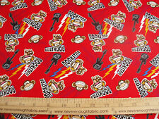 COTTON Fabric Babi Jack by Bobby Jack Monkey Rock Star on red Guitars BTY