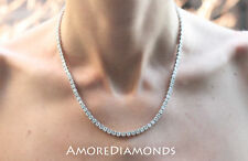 16.8 ct G SI1 round ideal cut diamond 4prong tennis necklace 14k white gold 18""