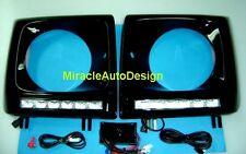 G63 LOOK BLACK HEAD LAMP RIM DAYTIME RUNNING LED 1990-2012 MERCEDES W463 G-CLASS