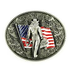 Classic Metal USA Amerikanische Flagge Blume Gürtelschnalle Kopf für