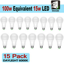 15 LED Light Bulbs 15W / 100W Replacement Daylight 6000K A19 Dimmable E26