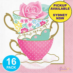 FLORAL KITCHEN TEA PARTY SUPPLIES 16 LARGE PAPER NAPKINS BIRTHDAY BRIDAL SHOWER