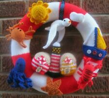 LARGE HAND KNITTED WALL WREATH. OODLES OF DETAIL. SEASIDE. SEAGULL.