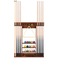Wood Pool Table Billiard Stick Wall Rack 8 Cue Ball Wall Mounted Holder Game