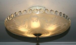 Antique 16 inch frosted glass Art Deco ceiling light fixture chandelier 1940s