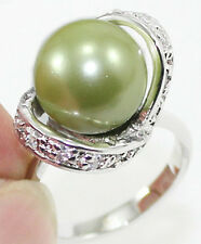 12mm white black pink green blue shell pearl/ jade/ tiger eye stone 18KGP ring