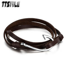 TTstyle Three Row Brown Genuine Soft Leather 316L Stainless Steel Wristband NEW