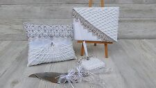 Wedding Guest Book/Pen/Ring Pillow/Cake knife and Server Accessories Set
