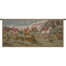 """ENGLISH HUNTING SCENE FRENCH TAPESTRY WALL HANGING H 29"""" x W 64"""""""