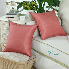 2pcs Cushion Cover Pillows Shell Light Weight Dyed Stripes Coral Pink Decor 50cm