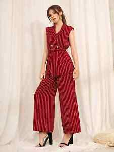 Women Red Stripes Lapel Neck Double Breasted Vest Wide Leg Palazzo Pant Suit Set