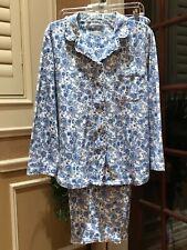 WOMENS PAJAMA SET BLUE & WHITE FLORAL 2 PIECE ELASTIC PANTS L/S BY CABERNET SZ L
