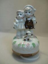 Ceramic Porcelain? Music Box Wind Up Figurine Little Boy Girl Dog