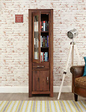 Solid Chunky Walnut Narrow Bookcase Display Cabinet Cupboard | Baumhaus Range