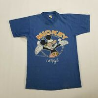 VTG 80s Mickey Mouse Las Vegas Graphic T Shirt Adult SMALL Blue Thin VELVA SHEEN