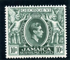 Jamaica 1938 KGVI 10s myrtle-green (p14) superb MNH. SG 133. Sc 128.