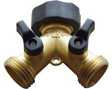 BRASS 2 WAY VALVE - Easy Turn Brass Hose Splitter Made from Durable Brass