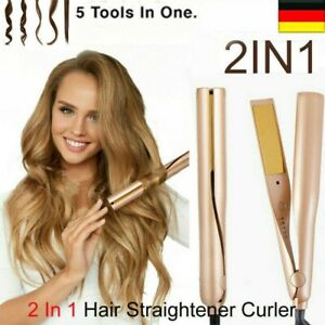 2-in-1 Curl&Straight Twist Hair Glätteisen Lockenstab Lockenwickler Waver DHL