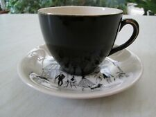 More details for alfred meakin black cup and saucer in the parisienne / paris street design