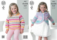 "King Cole DK Knitting Pattern 4247:Curved Cardigan & Sweater:: 20""-30"""