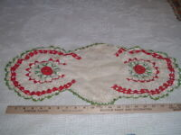 Vtg 50s Raised Red White Green Rosettes Oblong Hand Crochet Doily 24x12 #SFB
