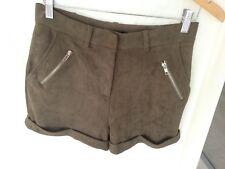 Missguided Faux Suede Shorts Khaki Zip Detail Turn Ups Sz 10/38