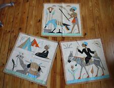 "Vtg Egyptian Set 3 Applique Wall Hanging Art Deco Camel Bird Pyramid 18"""