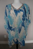 NEW Johnny Was 3J Workshop Linen Embroidered Boho V Neck Poncho Dress Blouse  S