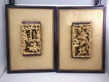 ANTIQUE CHINESE CARVING Wood ART Story Panel 3D Gold Flake Hand Made Decor Pair