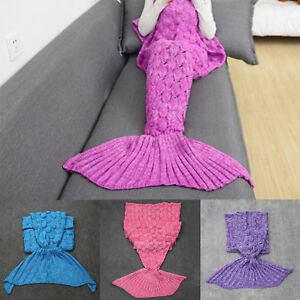 Kid Fish Scales Mermaid Tail Blanket Handmade Knitted Sofa Crocheted Quilt