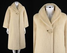 Vtg LILLI ANN Paris c.1950s - 1960s Cream Mohair Long Swing Coat Jacket M / L