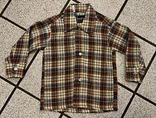 Vintage Boys Shirt Western Cowboy DEE CEE Plaid Long Sleeve 1980s Button Sz 2T
