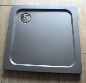 700x700 SILVER GREY Square Diamond Stone Slimline Shower Tray 35mm inc Waste