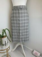 M&S Collection Womens Black & White Check Skirt + Pockets Smart Size Uk 20 Long