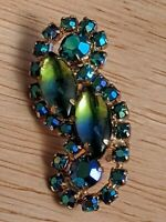 Vintage Clip-Back Earrings - Blues, Green, and Aurora Borealis Juliana Earrings