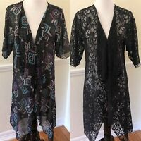 LuLaRoe Shirley Lot SOLID BLACK LACE & Geometric Kimono Cardigan Cover Sz Small