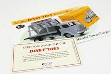 DINKY TOYS ATLAS FICHE & CERTIFICAT / MIROITIER SIMCA CARGO 33C