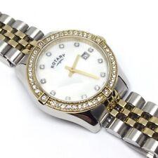 Rotary Ladies Gold / Stainless Steel Quartz Watch Dress CZ Stone Set Jubilee MOP