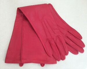 DENTS Women's Long Red Gloves Size 7 Outer Leather