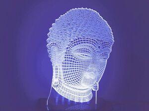 Amazing Buddha Head 3d Effect LED Light Table Lamp Night Amulet Art Sculpture GF