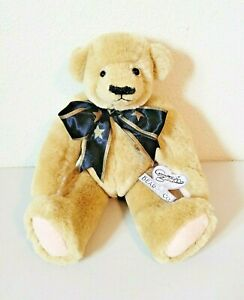 """Annette Funicello Collectible Jointed Bear Plush w/Black Stars Bow & Tag 13"""""""